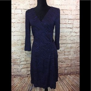 Express Wrap Dress Animal Print Blue Medium